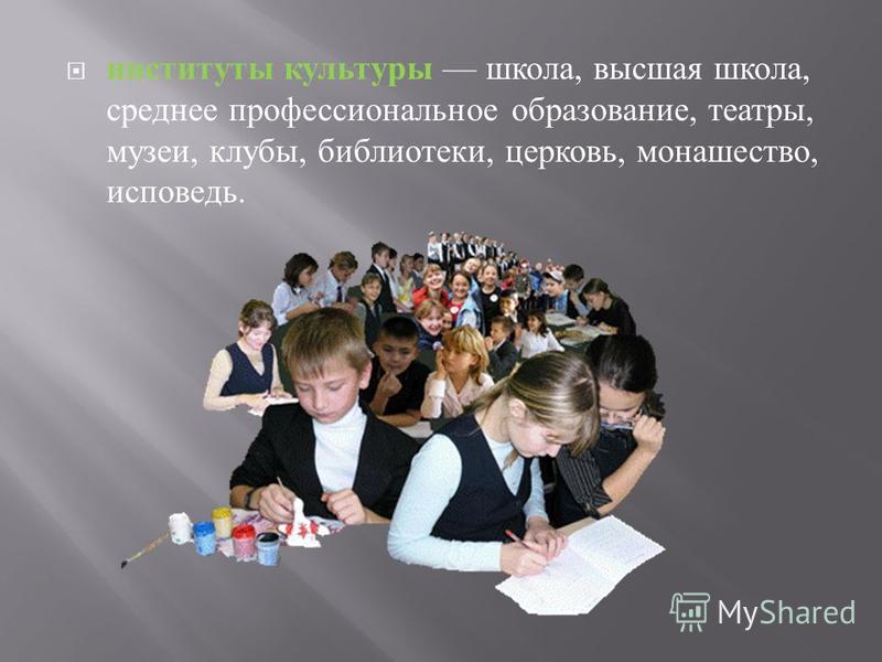 институты культуры школа, высшая школа, среднее профессиональное образование, театры, музеи, клубы, библиотеки, церковь, монашество, исповедь.