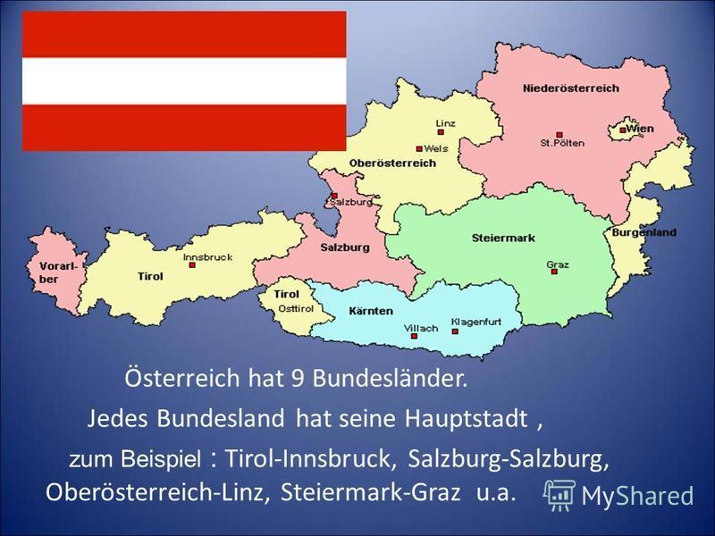Österreich hat 9 Bundesländer. Jedes Bundesland hat seine Hauptstadt, zum Beispiel : Tirol-Innsbruck, Salzburg-Salzburg, Oberösterreich-Linz, Steiermark-Graz u.a.