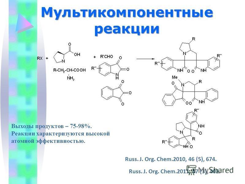 Мультикомпонентные реакции Выходы продуктов – 75-98%. Реакции характеризуются высокой атомной эффективностью. Russ. J. Org. Chem.2010, 46 (5), 674. Russ. J. Org. Chem.2011, 47 (3), 402.