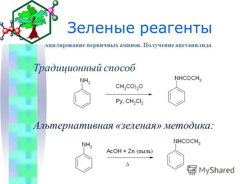 Традиционный способ Альтернативная «зеленая» методика: Ацилирование первичных аминов. Получение ацетанилида Зеленые реагенты