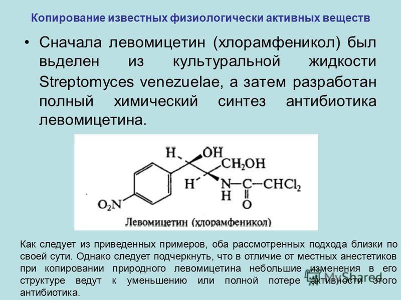 Копирование известных физиологически активных веществ Сначала левомицетин (хлорамфеникол) был вьделен из культуральной жидкости Streptomyces venezuelae, а затем разработан полный химический синтез антибиотика левомицетина. Как следует из приведенных