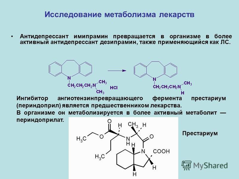 Исследование метаболизма лекарств Антидепрессант имипрамин превращается в организме в более активный антидепрессант дезипрамин, также применяющийся как ЛС. Ингибитор ангиотензинпревращающего фермента престариум (периндоприл) является предшественником