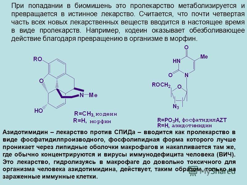 При попадании в биомишень это пролекарство метаболизируется и превращается в истинное лекарство. Считается, что почти четвертая часть всех новых лекарственных веществ вводится в настоящее время в виде пролекарств. Например, кодеин оказывает обезболив