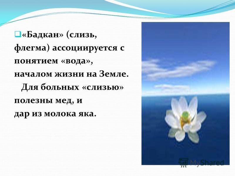 «Бадкан» (слизь, флегма) ассоциируется с понятием «вода», началом жизни на Земле. Для больных «слизью» полезны мед, и дар из молока яка.
