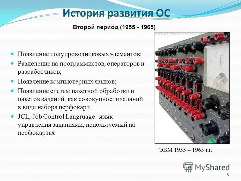 История развития ОС 8 Второй период (1955 - 1965) ЭВМ 1955 – 1965 г.г. Появление полупроводниковых элементов; Разделение на программистов, операторов и разработчиков; Появление компьютерных языков; Появление систем пакетной обработки и пакетов задани