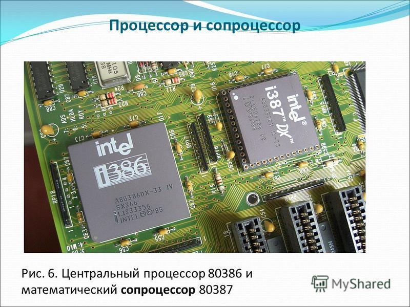 Процессор и сопроцессор Рис. 6. Центральный процессор 80386 и математический сопроцессор 80387