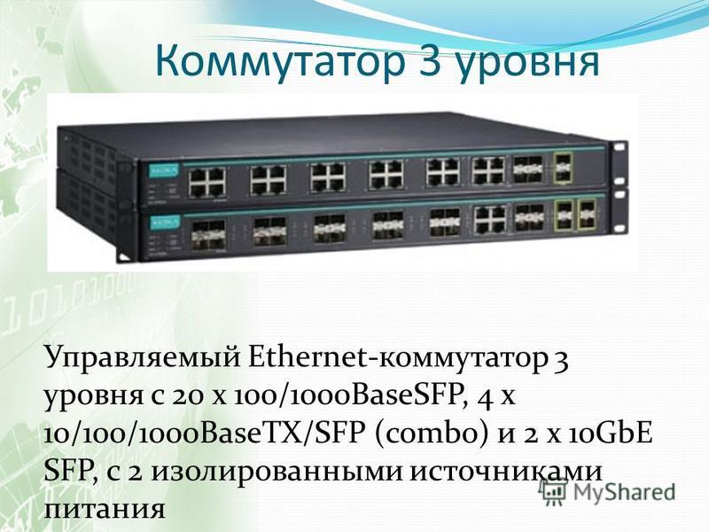 Коммутатор 3 уровня Управляемый Ethernet-коммутатор 3 уровня с 20 х 100/1000BaseSFP, 4 х 10/100/1000BaseTX/SFP (combo) и 2 х 10GbE SFP, с 2 изолированными источниками питания