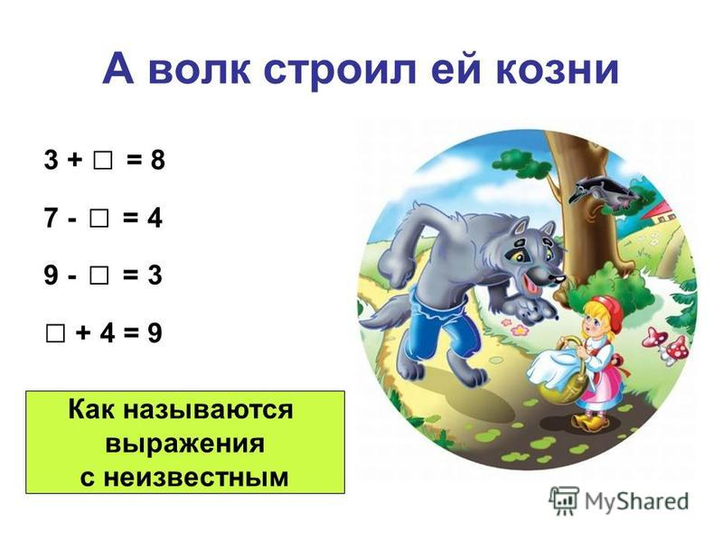 А волк строил ей козни 3 + = 8 7 - = 4 9 - = 3 + 4 = 9 Как называются выражения с неизвестным