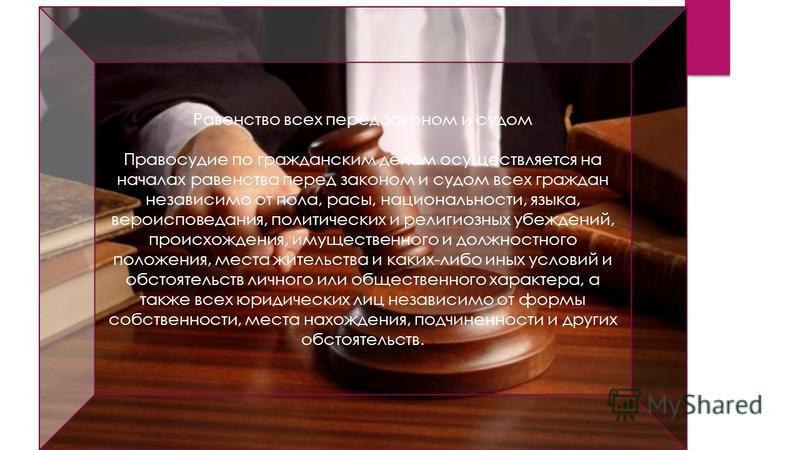 Равенство всех перед законом и судом Правосудие по гражданским делам осуществляется на началах равенства перед законом и судом всех граждан независимо от пола, расы, национальности, языка, вероисповедания, политических и религиозных убеждений, происх