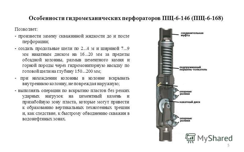 Особенности гидромеханических перфораторов ПЩ-6-146 (ПЩ-6-168) Позволяет: - произвести замену скважинной жидкости до и после перфорации; - создать продольные щели по 2...4 м и шириной 7...9 мм накатным диском на 16...20 мм за пределы обсадной колонны