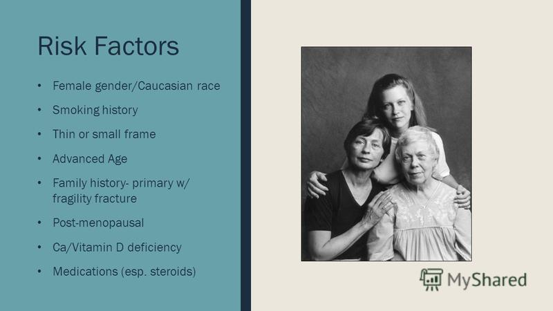 Risk Factors Female gender/Caucasian race Smoking history Thin or small frame Advanced Age Family history- primary w/ fragility fracture Post-menopausal Ca/Vitamin D deficiency Medications (esp. steroids)