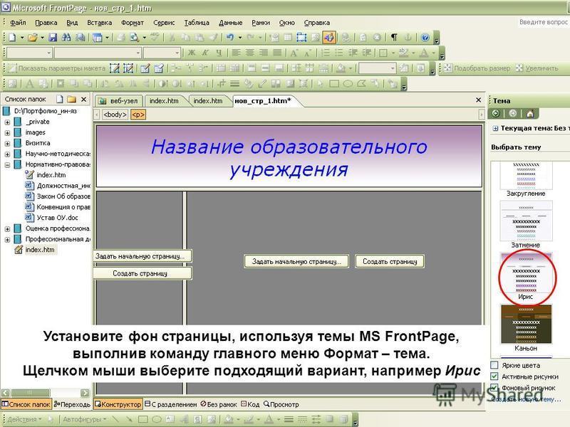 Установите фон страницы, используя темы MS FrontPage, выполнив команду главного меню Формат – тема. Щелчком мыши выберите подходящий вариант, например Ирис
