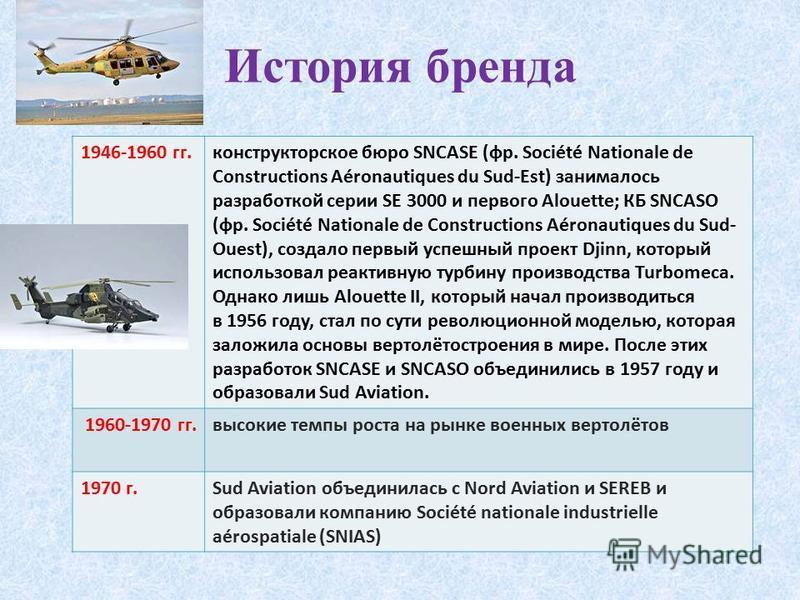 1946-1960 гг.конструкторское бюро SNCASE (фр. Société Nationale de Constructions Aéronautiques du Sud-Est) занималось разработкой серии SE 3000 и первого Alouette; КБ SNCASO (фр. Société Nationale de Constructions Aéronautiques du Sud- Ouest), создал