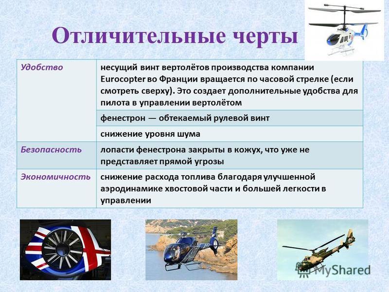 Отличительные черты Удобствонесущий винт вертолётов производства компании Eurocopter во Франции вращается по часовой стрелке (если смотреть сверху). Это создает дополнительные удобства для пилота в управлении вертолётом фенестрон обтекаемый рулевой в