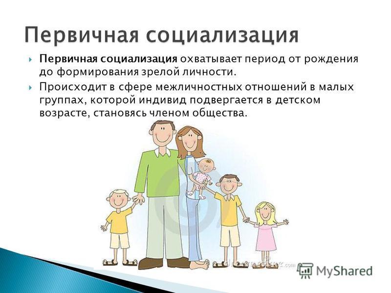 Первичная социализация охватывает период от рождения до формирования зрелой личности. Происходит в сфере межличностных отношений в малых группах, которой индивид подвергается в детском возрасте, становясь членом общества.