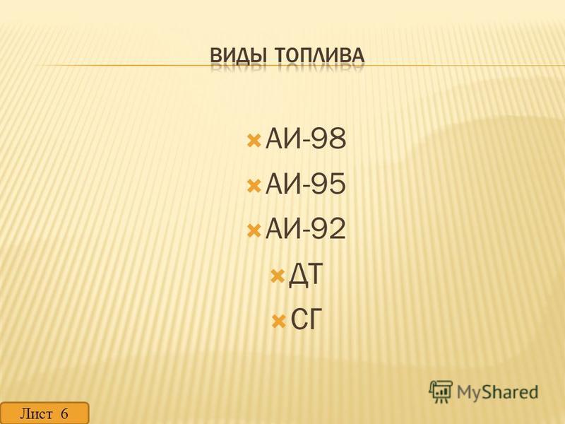 АИ-98 АИ-95 АИ-92 ДТ СГ Лист 6