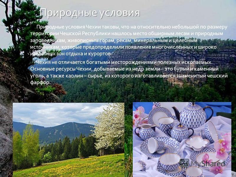 Природные условия Природные условия Чехии таковы, что на относительно небольшой по размеру территории Чешской Республики нашлось место обширным лесам и природным заповедникам, живописным горам, рекам, минеральным и целебным источникам, которые предоп