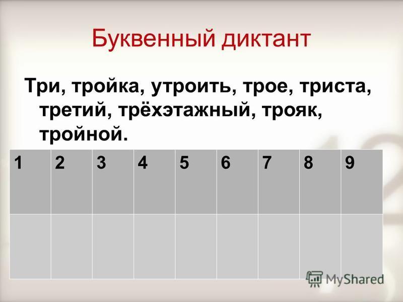 Буквенный диктант Три, тройка, утроить, трое, триста, третий, трёхэтажный, трояк, тройной. 123456789
