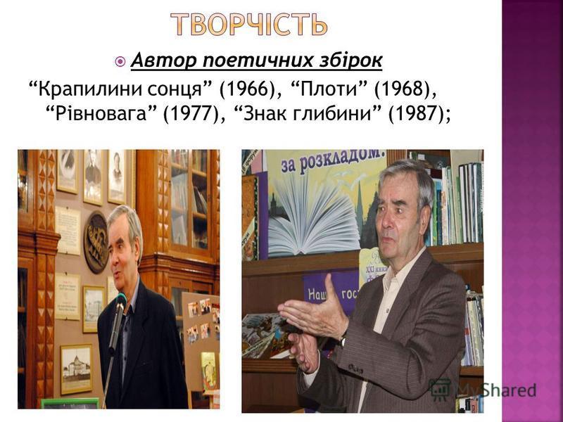 Автор поетичних збірок Крапилини сонця (1966), Плоти (1968), Рівновага (1977), Знак глибини (1987);