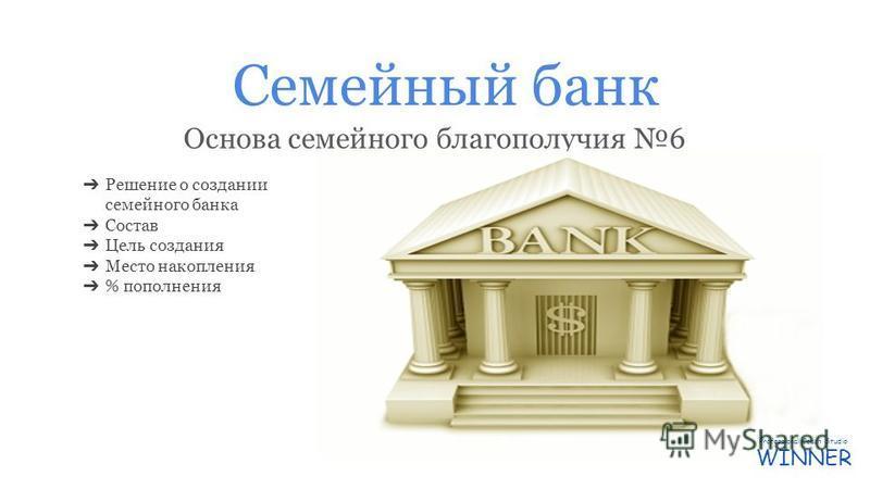 Семейный банк Основа семейного благополучия 6 Решение о создании семейного банка Состав Цель создания Место накопления % пополнения Professional Coach Studio WINNER
