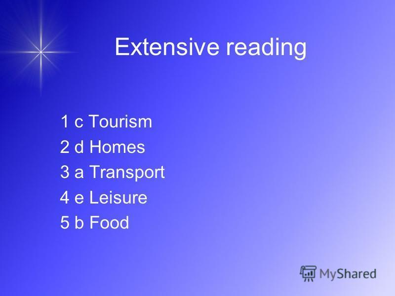 Extensive reading 1 c Tourism 2 d Homes 3 a Transport 4 e Leisure 5 b Food