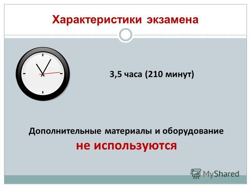 Характеристики экзамена 3,5 часа (210 минут) Дополнительные материалы и оборудование не используются