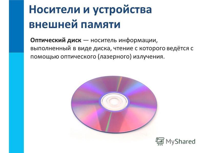 Носители и устройства внешней памяти Оптический диск носитель информации, выполненный в виде диска, чтение с которого ведётся с помощью оптического (лазерного) излучения.