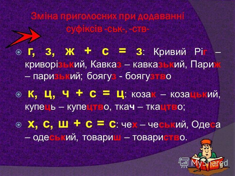 Зміна приголосних при додаванні суфіксів -ськ-, -ств- г, з, ж + с = з : Кривий Ріг – криворізький, Кавказ – кавказький, Париж – паризький; боягуз - боягузтво к, ц, ч + с = ц : козак – козацький, купець – купецтво, ткач – ткацтво; х, с, ш + с = с : че