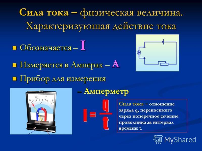 Сила тока – физическая величина. Характеризующая действие тока Обозначается – I Измеряется в Амперах – А Прибор для измерения – Амперметр Сила тока – отношение заряда q, переносимого через поперечное сечение проводника за интервал времени t.