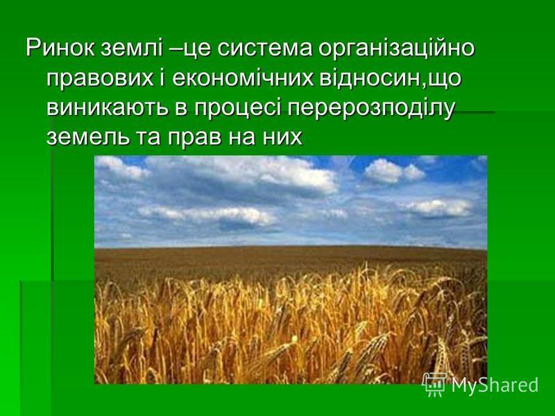 Ринок землі –це система організаційно правових і економічних відносин,що виникають в процесі перерозподілу земель та прав на них
