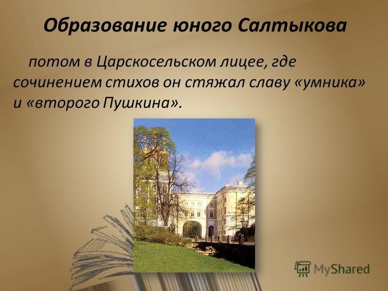 Образование юного Салтыкова потом в Царскосельском лицее, где сочинением стихов он стяжал славу «умника» и «второго Пушкина». 7