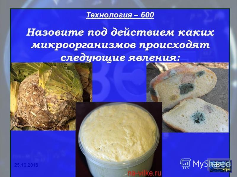 Технология – 600 Назовите под действием каких микроорганизмов происходят следующие явления: