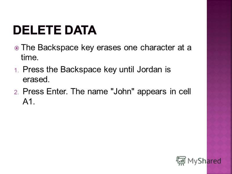 The Backspace key erases one character at a time. 1. Press the Backspace key until Jordan is erased. 2. Press Enter. The name John appears in cell A1.