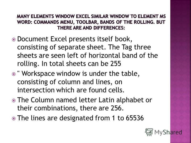 Document Excel presents itself book, consisting of separate sheet. The Tag three sheets are seen left of horizontal band of the rolling. In total sheets can be 255