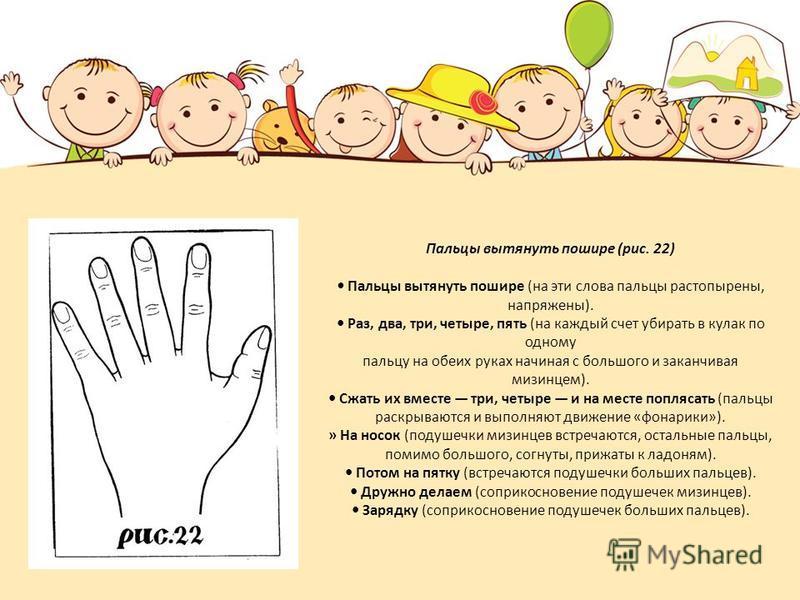 Пальцы вытянуть пошире (рис. 22) Пальцы вытянуть пошире (на эти слова пальцы растопырены, напряжены). Раз, два, три, четыре, пять (на каждый счет убирать в кулак по одному пальцу на обеих руках начиная с большого и заканчивая мизинцем). Сжать их в