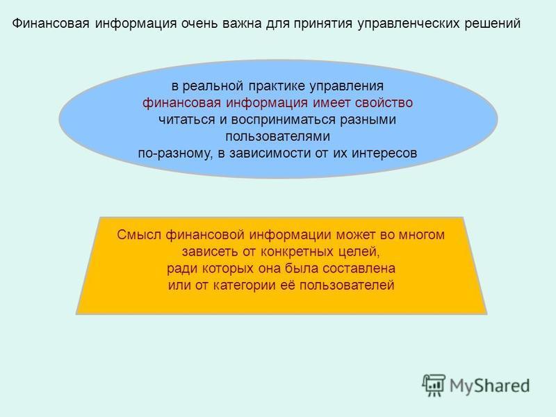 Финансовая информация очень важна для принятия управленческих решений в реальной практике управления финансовая информация имеет свойство читаться и восприниматься разными пользователями по-разному, в зависимости от их интересов Смысл финансовой инфо