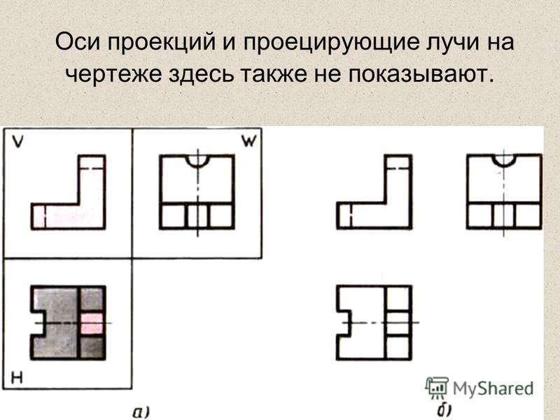 Оси проекций и проецирующие лучи на чертеже здесь также не показывают.
