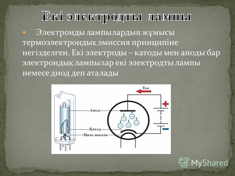 Электронды лампыларды ң ж ұ мысы термоэлектронды қ эмиссия принципіне негізделген. Екі электроды – катоды мен аноды бар электронды қ лампылар екі электродты лампы немесе диод деп аталады