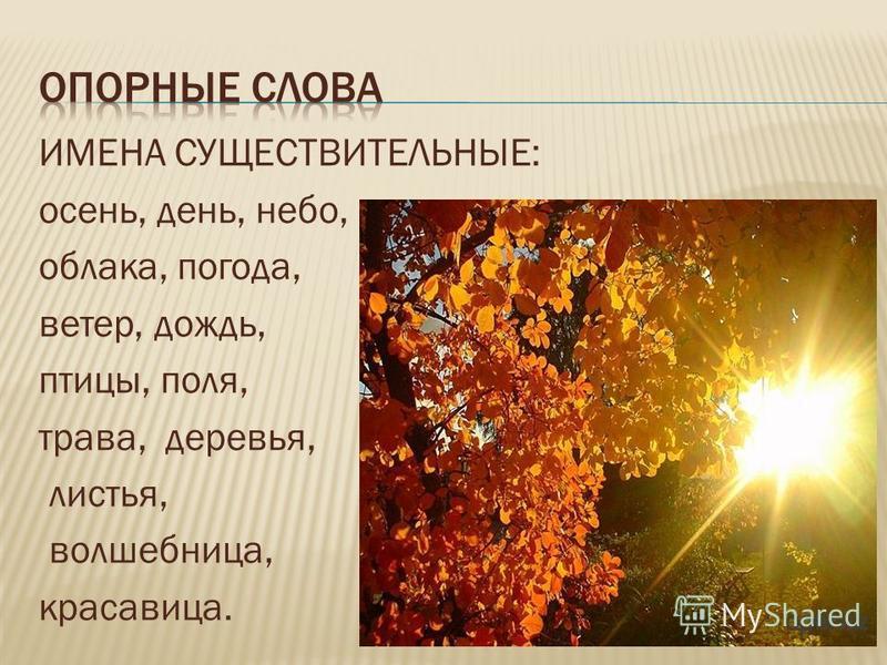 ИМЕНА СУЩЕСТВИТЕЛЬНЫЕ: осень, день, небо, облака, погода, ветер, дождь, птицы, поля, трава, деревья, листья, волшебница, красавица.