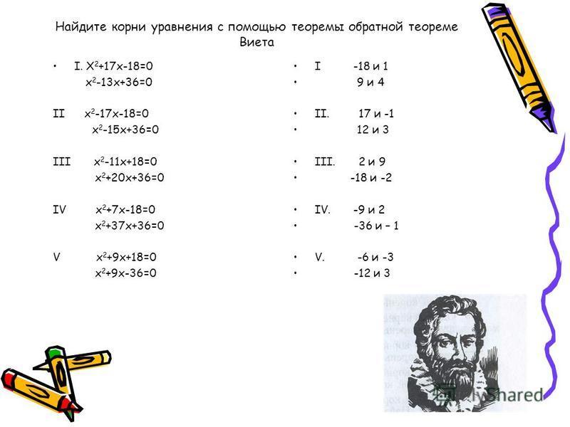 Теорема обратная помогает решать приведенное квадратное уравнение,не пользуясь формулами корней квадратного уравнения Решим уравнение х 2 +2x - 15 = 0, применяя обратную теорему. Х 1 + х 2 = -2 х 1 х 2 =-15 такими числами могут быть только 3 и -5. Де