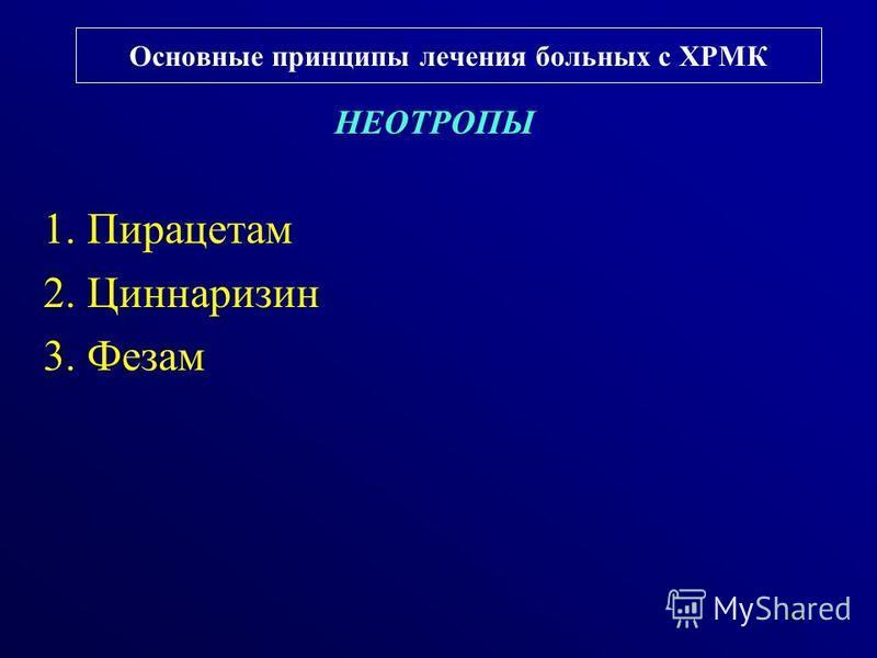 Основные принципы лечения больных с ХРМК НЕОТРОПЫ 1. Пирацетам 2. Циннаризин 3. Фезам 43