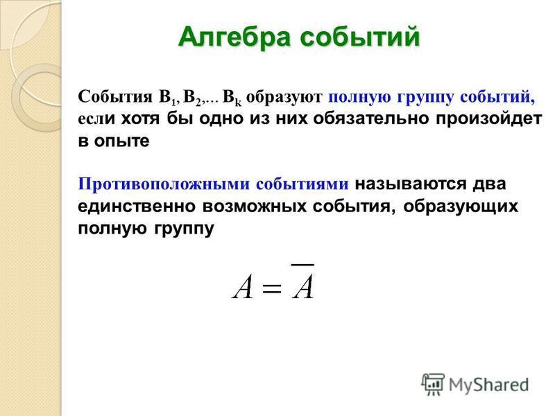 Алгебра событий События B 1, B 2,… B k образуют полную группу событий, если хотя бы одно из них обязательно произойдет в опыте Противоположными событиями называются два единственно возможных события, образующих полную группу