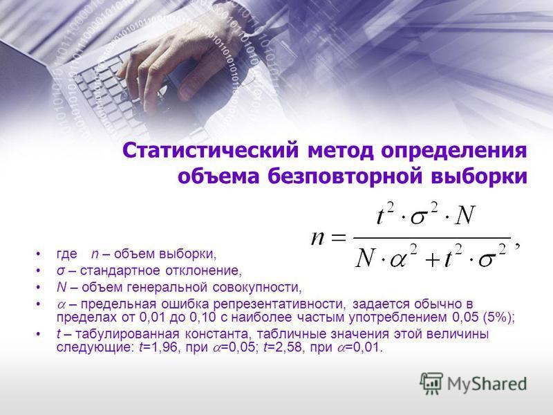 Статистический метод определения объема бесповторной выборки где n – объем выборки, σ – стандартное отклонение, N – объем генеральной совокупности, – предельная ошибка репрезентативности, задается обычно в пределах от 0,01 до 0,10 с наиболее частым у