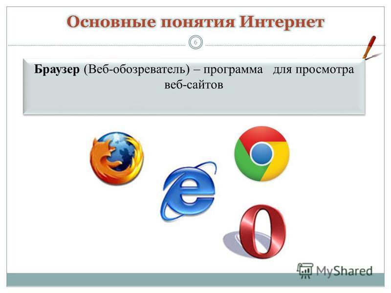6 Браузер (Веб-обозреватель) – программа для просмотра веб-сайтов