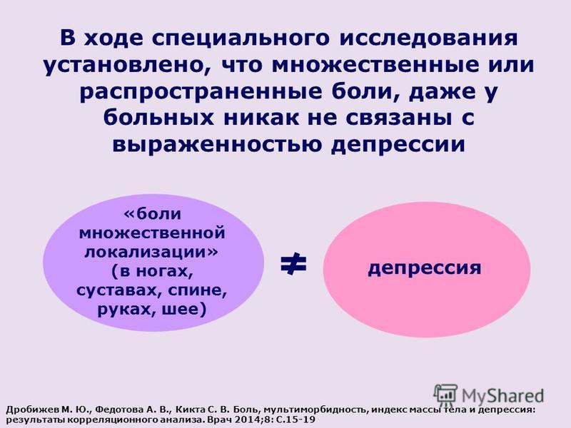В ходе специального исследования установлено, что множественные или распространенные боли, даже у больных никак не связаны с выраженностью депрессии «боли множественной локализации» (в ногах, суставах, спине, руках, шее) депрессия Дробижев М. Ю., Фед