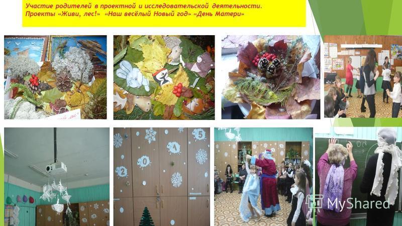 Участие родителей в проектной и исследовательской деятельности. Проекты «Живи, лес!» «Наш весёлый Новый год» «День Матери»