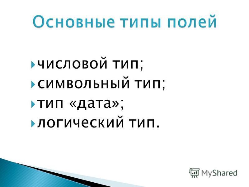 числовой тип; символьный тип; тип «дата»; логический тип.