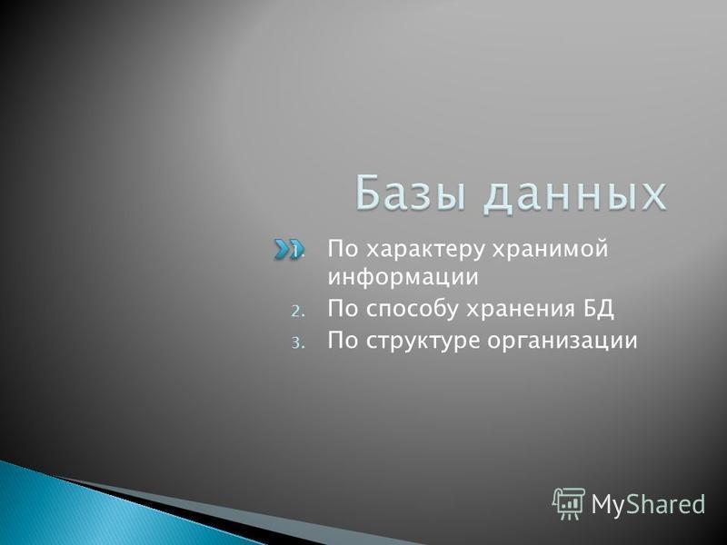 1. По характеру хранимой информации 2. По способу хранения БД 3. По структуре организации