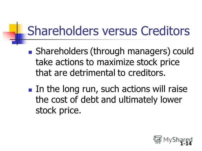1-14 Shareholders versus Creditors Shareholders (through managers) could take actions to maximize stock price that are detrimental to creditors. In the long run, such actions will raise the cost of debt and ultimately lower stock price.