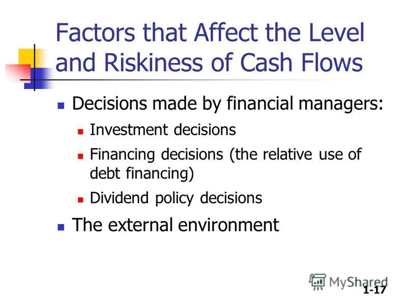1-17 Factors that Affect the Level and Riskiness of Cash Flows Decisions made by financial managers: Investment decisions Financing decisions (the relative use of debt financing) Dividend policy decisions The external environment